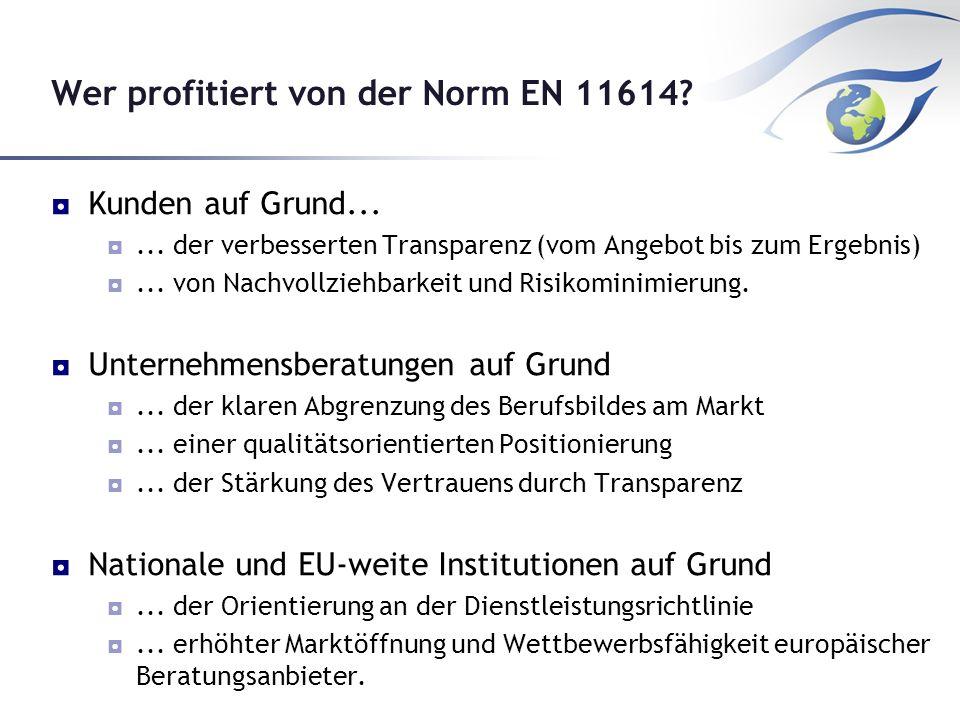 Wer profitiert von der Norm EN 11614.Kunden auf Grund......