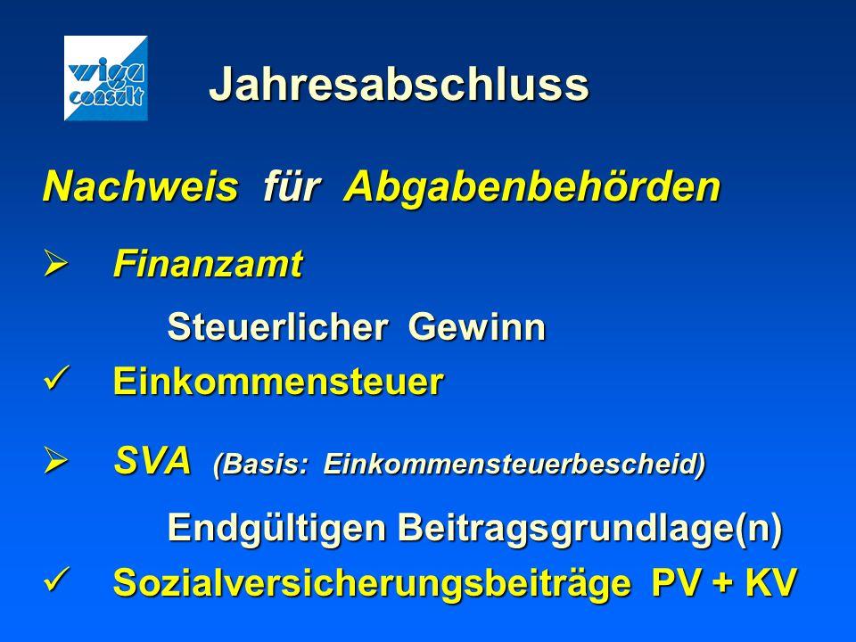 Jahresabschluss Nachweis für Abgabenbehörden Finanzamt Finanzamt Steuerlicher Gewinn Einkommensteuer Einkommensteuer SVA (Basis: Einkommensteuerbesche