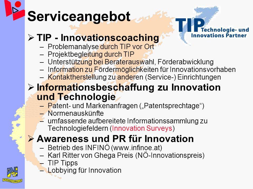 Serviceangebot TIP - Innovationscoaching –Problemanalyse durch TIP vor Ort –Projektbegleitung durch TIP –Unterstützung bei Beraterauswahl, Förderabwic