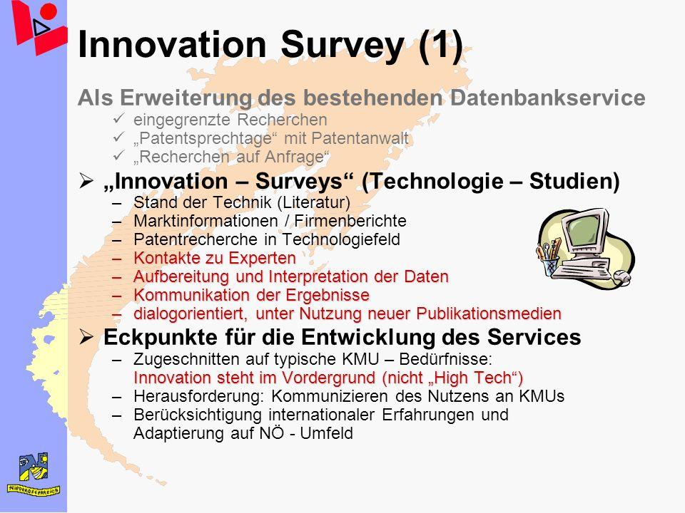Innovation Survey (1) Als Erweiterung des bestehenden Datenbankservice eingegrenzte Recherchen Patentsprechtage mit Patentanwalt Recherchen auf Anfrag