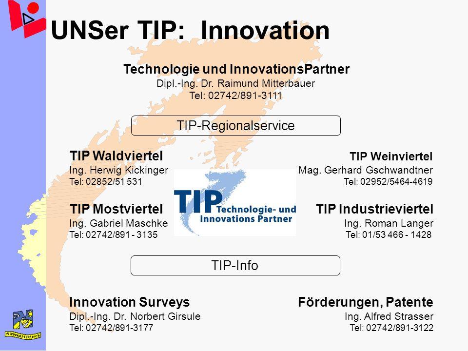 UNSer TIP: Innovation TIP Waldviertel Ing. Herwig Kickinger Tel: 02852/51 531 TIP Weinviertel Mag. Gerhard Gschwandtner Tel: 02952/5464-4619 TIP Mostv