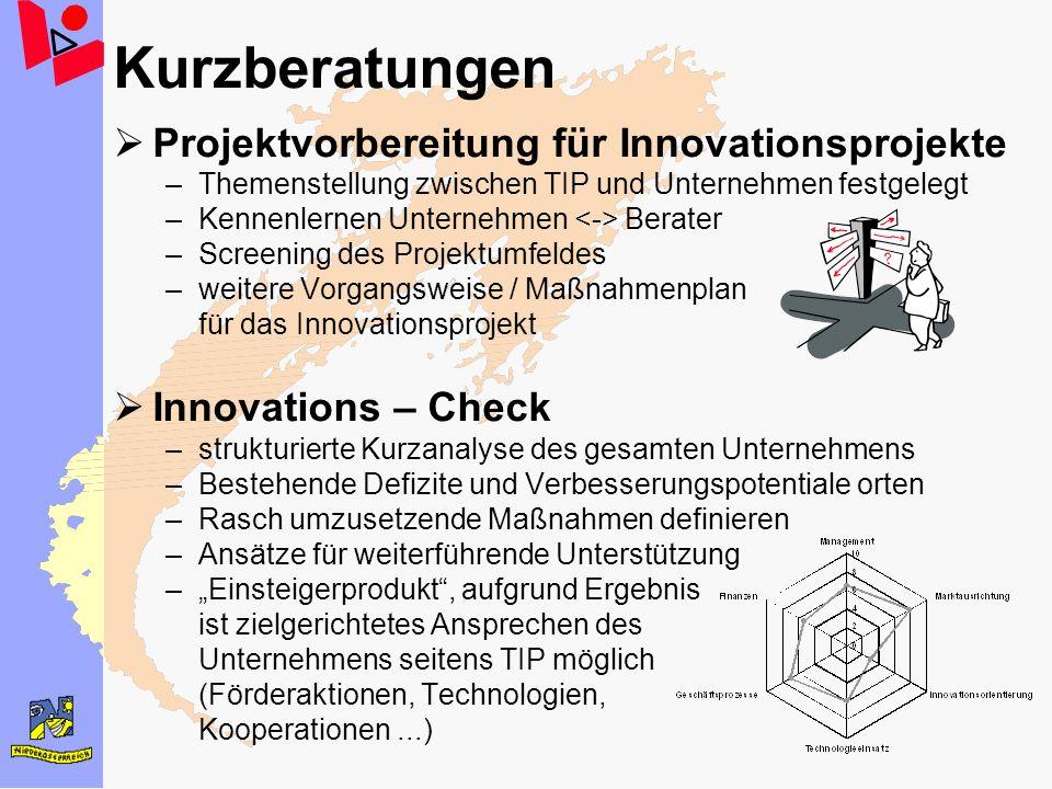 Kurzberatungen Projektvorbereitung für Innovationsprojekte –Themenstellung zwischen TIP und Unternehmen festgelegt –Kennenlernen Unternehmen Berater –