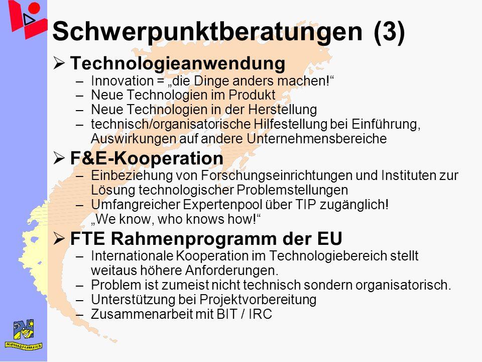 Schwerpunktberatungen (3) Technologieanwendung –Innovation = die Dinge anders machen! –Neue Technologien im Produkt –Neue Technologien in der Herstell