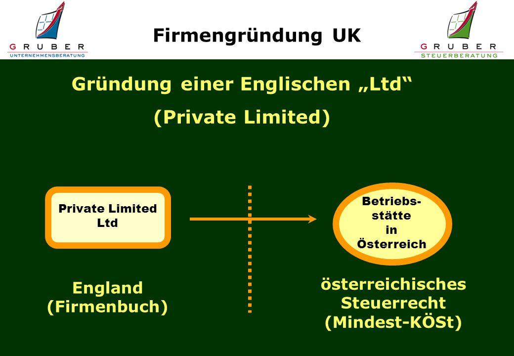 England (Firmenbuch) Gründung einer Englischen Ltd (Private Limited) Private Limited Ltd Betriebs- stätte in Österreich österreichisches Steuerrecht (