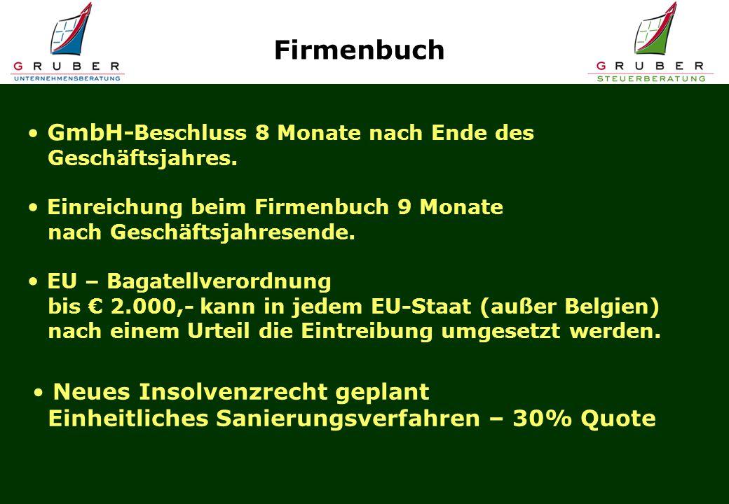 GmbH- Beschluss 8 Monate nach Ende des Geschäftsjahres. Einreichung beim Firmenbuch 9 Monate nach Geschäftsjahresende. EU – Bagatellverordnung bis 2.0