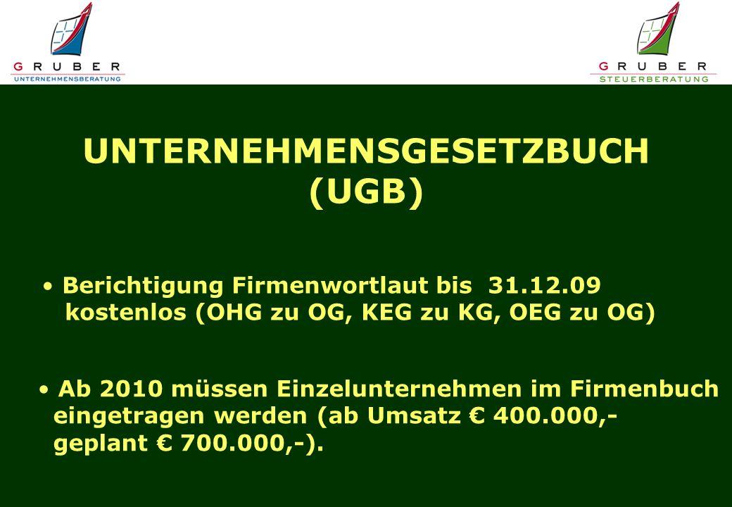 UNTERNEHMENSGESETZBUCH (UGB) Berichtigung Firmenwortlaut bis 31.12.09 kostenlos (OHG zu OG, KEG zu KG, OEG zu OG) Ab 2010 müssen Einzelunternehmen im