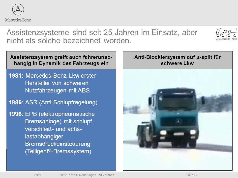 LKW-Technik: Neuerungen und VisionenFolie 13VN/M 1981: Mercedes-Benz Lkw erster Hersteller von schweren Nutzfahrzeugen mit ABS 1986: ASR (Anti-Schlupf