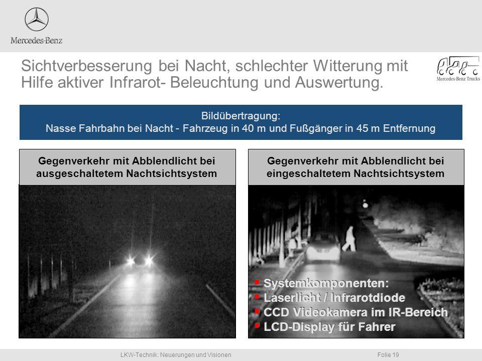 LKW-Technik: Neuerungen und VisionenFolie 19 Sichtverbesserung bei Nacht, schlechter Witterung mit Hilfe aktiver Infrarot- Beleuchtung und Auswertung.