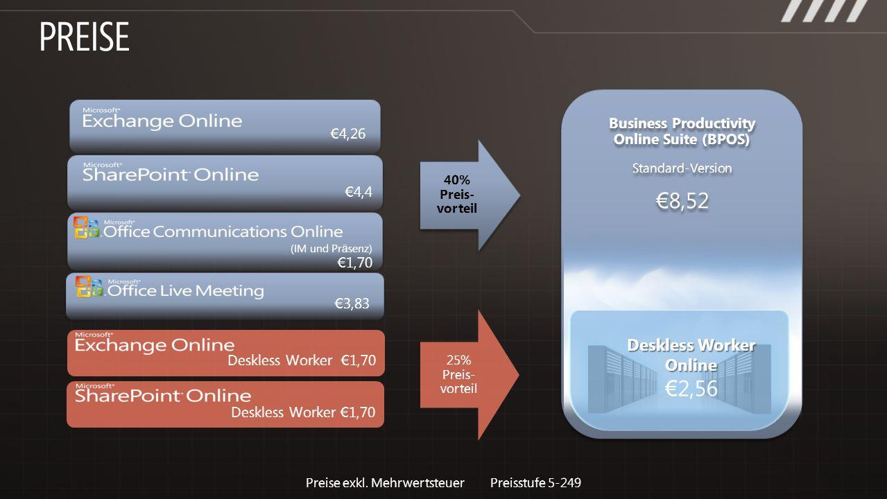 4,26 (IM und Pr ä senz) 1,70 3,83 4,4 40% Preis- vorteil Deskless Worker 1,70 25% Preis- vorteil Business Productivity Online Suite (BPOS) Standard-Ve