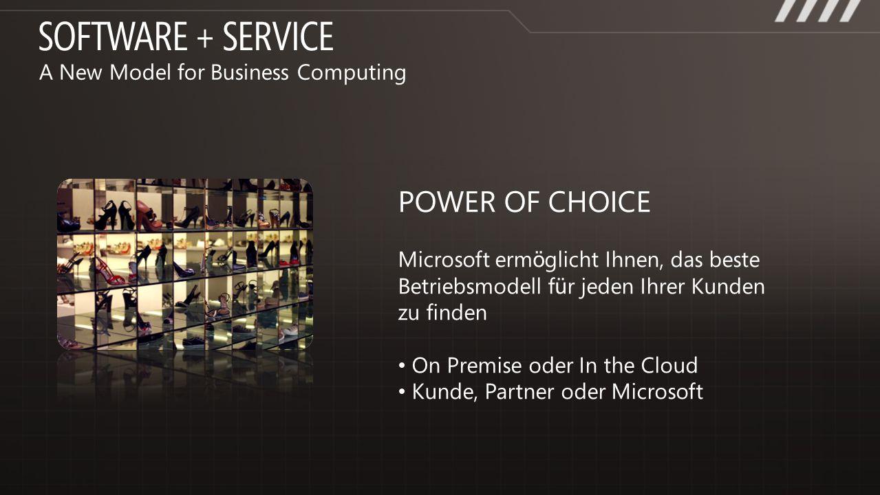 POWER OF CHOICE Microsoft erm ö glicht Ihnen, das beste Betriebsmodell f ü r jeden Ihrer Kunden zu finden On Premise oder In the Cloud Kunde, Partner
