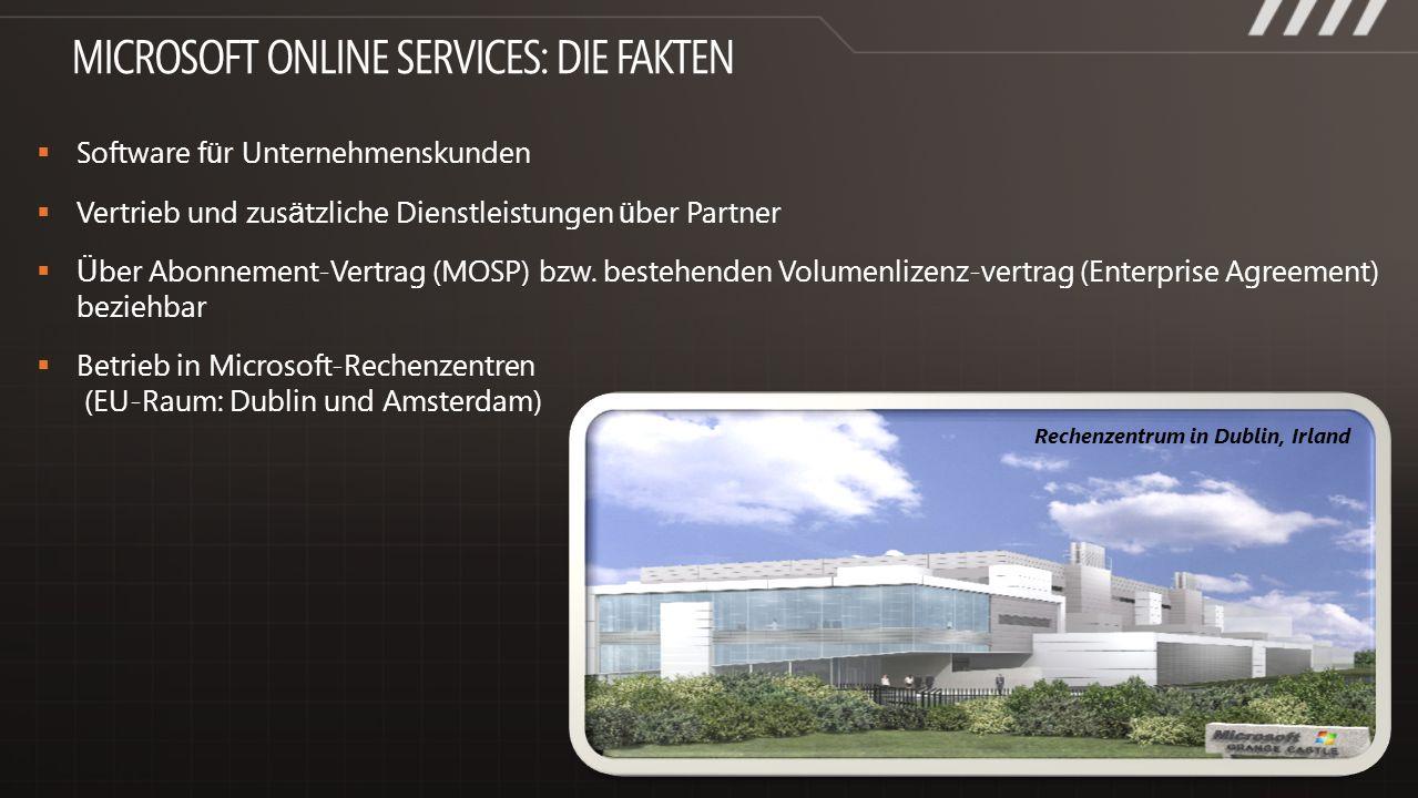 Software f ü r Unternehmenskunden Vertrieb und zus ä tzliche Dienstleistungen ü ber Partner Über Abonnement-Vertrag (MOSP) bzw. bestehenden Volumenliz