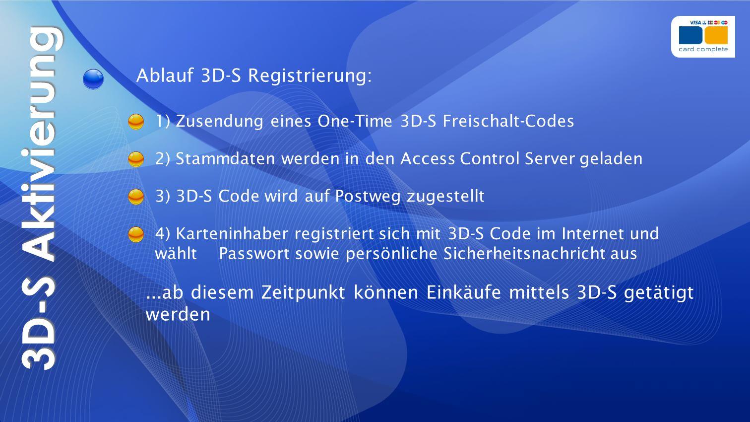 3D-S Aktivierung 1) Zusendung eines One-Time 3D-S Freischalt-Codes Ablauf 3D-S Registrierung: 3) 3D-S Code wird auf Postweg zugestellt 4) Karteninhabe