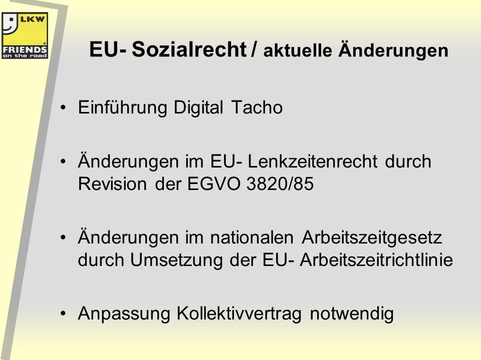 EU- Sozialrecht / aktuelle Änderungen Einführung Digital Tacho Änderungen im EU- Lenkzeitenrecht durch Revision der EGVO 3820/85 Änderungen im nationa