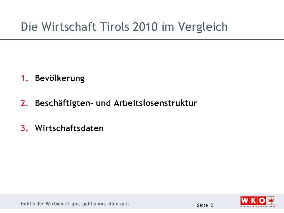 Die Wirtschaft Tirols 2010 im Vergleich 1.Bevölkerung 2.Beschäftigten- und Arbeitslosenstruktur 3.Wirtschaftsdaten Seite 2