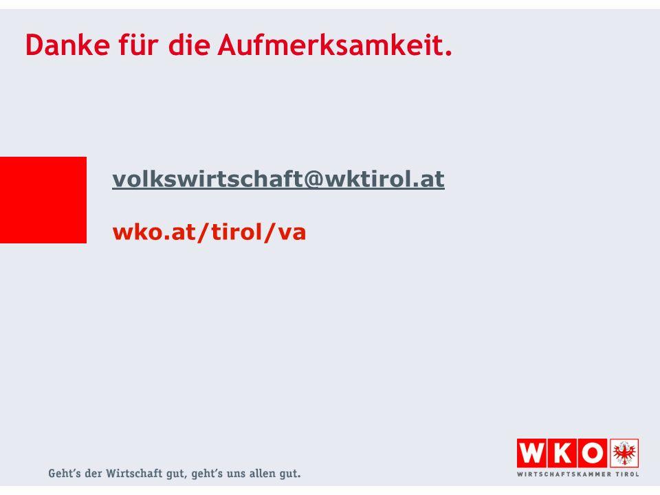 Danke für die Aufmerksamkeit. volkswirtschaft@wktirol.at wko.at/tirol/va