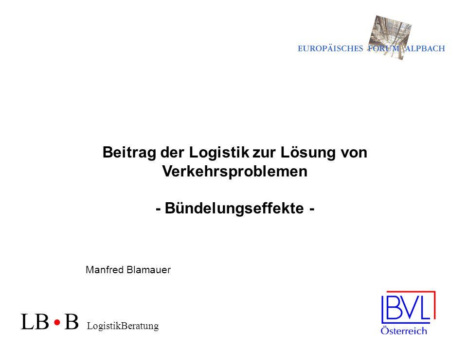 Beitrag der Logistik zur Lösung von Verkehrsproblemen - Bündelungseffekte - Manfred Blamauer LB B LogistikBeratung