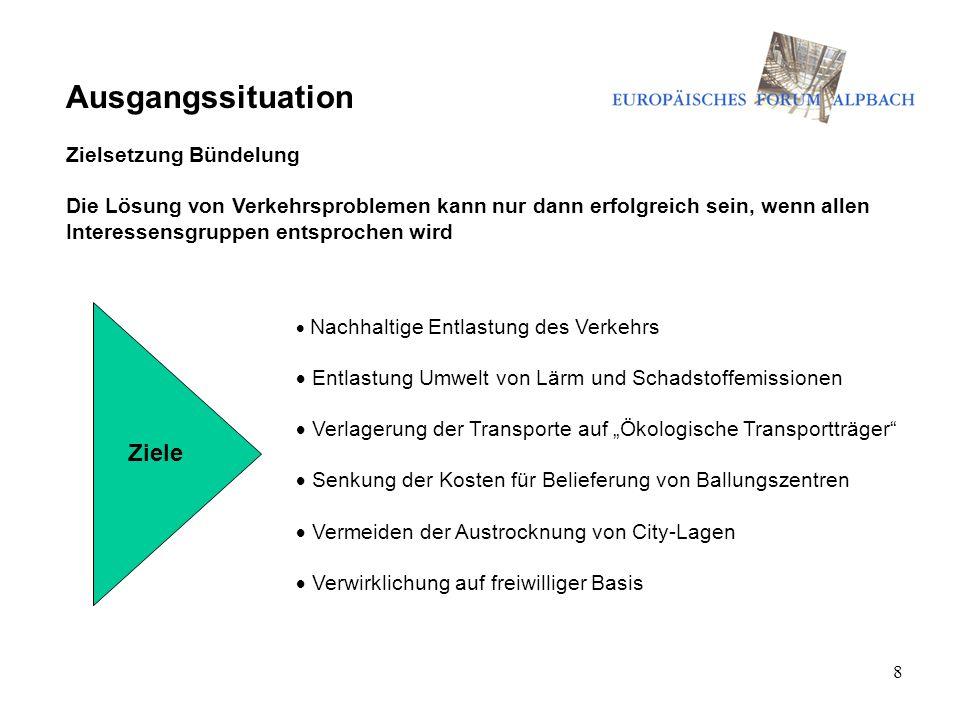 8 Ausgangssituation Zielsetzung Bündelung Die Lösung von Verkehrsproblemen kann nur dann erfolgreich sein, wenn allen Interessensgruppen entsprochen w