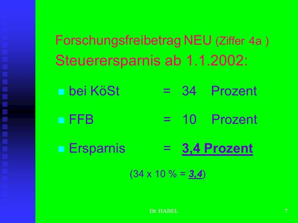 Dr. HABEL6 Unterschiede Ziffer 4 bzw. Ziffer 4a (NEU) Enger Begriff einer volkswirtschaftlich wertvollen Erfindung 25 bzw. 35 % FFB entweder Weiter Fo
