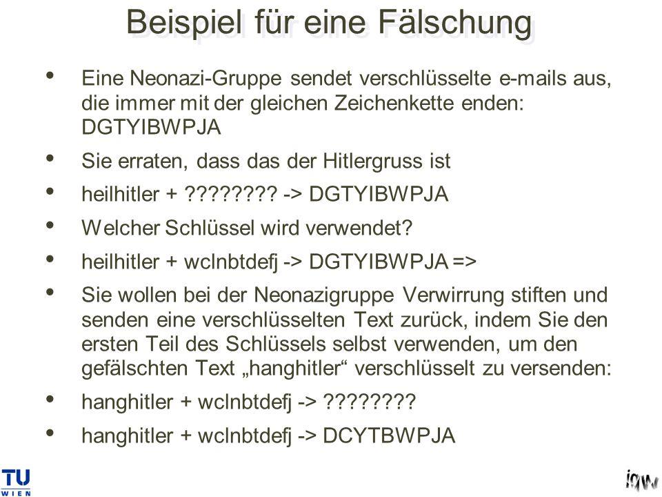 Beispiel für eine Fälschung Eine Neonazi-Gruppe sendet verschlüsselte e-mails aus, die immer mit der gleichen Zeichenkette enden: DGTYIBWPJA Sie erraten, dass das der Hitlergruss ist heilhitler + ???????.