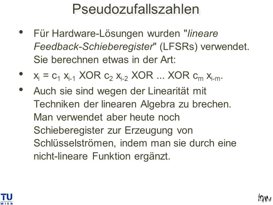 Pseudozufallszahlen Für Hardware-Lösungen wurden lineare Feedback-Schieberegister (LFSRs) verwendet.