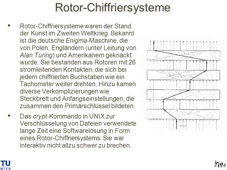 Rotor-Chiffriersysteme Rotor-Chiffriersysteme waren der Stand der Kunst im Zweiten Weltkrieg.