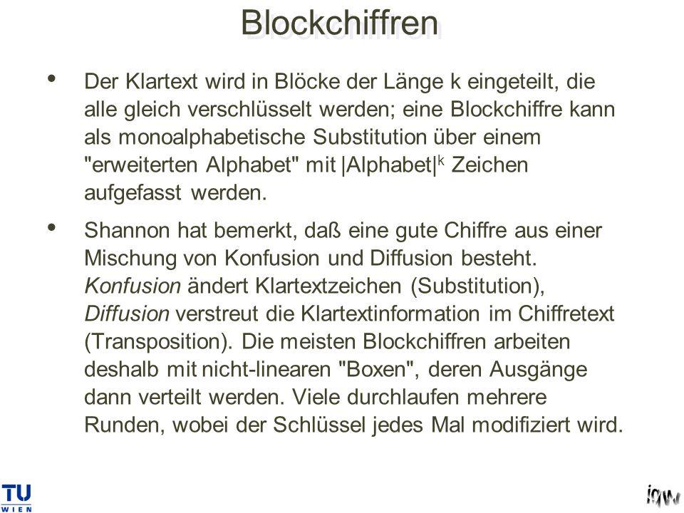 Blockchiffren Der Klartext wird in Blöcke der Länge k eingeteilt, die alle gleich verschlüsselt werden; eine Blockchiffre kann als monoalphabetische Substitution über einem erweiterten Alphabet mit |Alphabet| k Zeichen aufgefasst werden.