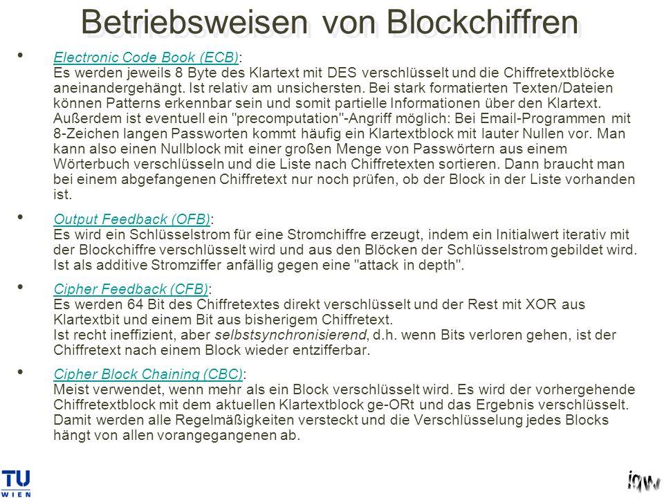 Betriebsweisen von Blockchiffren Electronic Code Book (ECB): Es werden jeweils 8 Byte des Klartext mit DES verschlüsselt und die Chiffretextblöcke aneinandergehängt.
