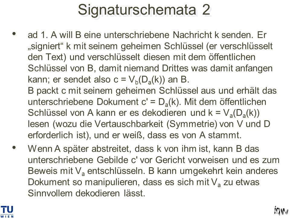 Signaturschemata 2 ad 1.A will B eine unterschriebene Nachricht k senden.