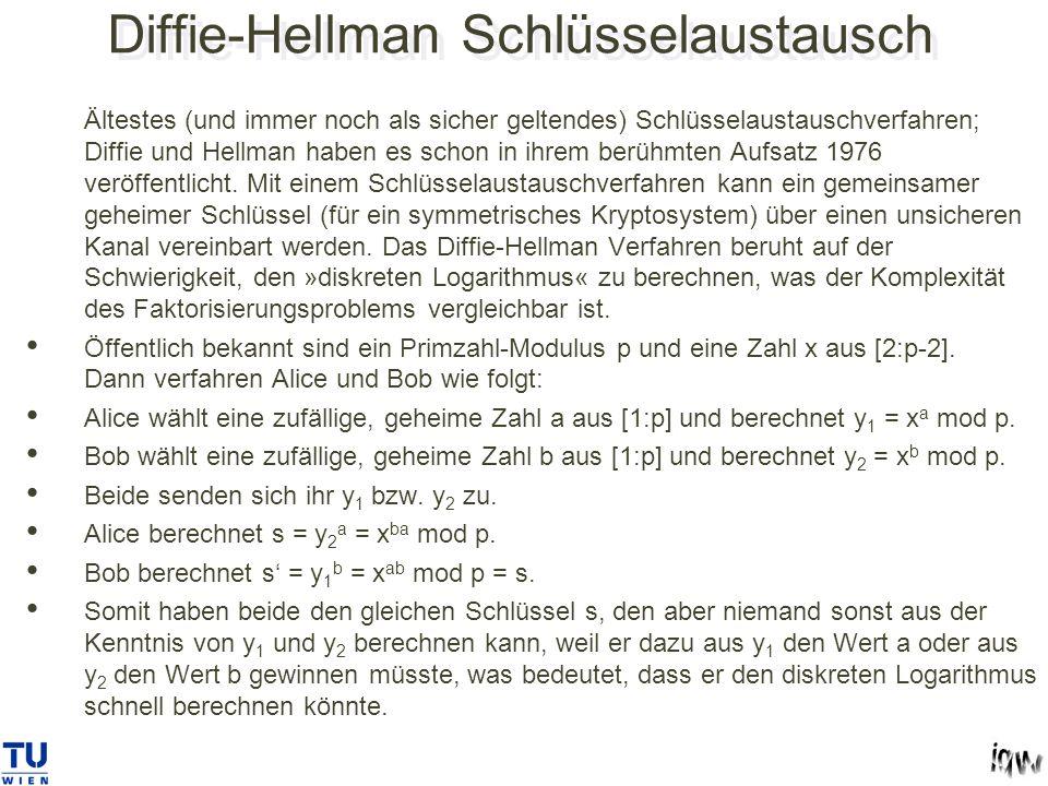 Diffie-Hellman Schlüsselaustausch Ältestes (und immer noch als sicher geltendes) Schlüsselaustauschverfahren; Diffie und Hellman haben es schon in ihrem berühmten Aufsatz 1976 veröffentlicht.