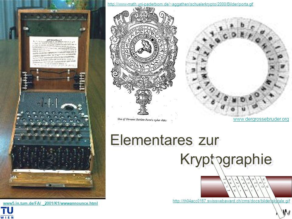 Elementares zur Kryptographie www5.in.tum.de/FA/ _2001/K1/wwwannounce.html www.dergrossebruder.org http://www-math.uni-paderborn.de/~aggathen/schuelerkrypto/2000/Bilder/porta.gif http://th04acc0187.swisswebaward.ch/cms/docs/bilder/skytale.gif