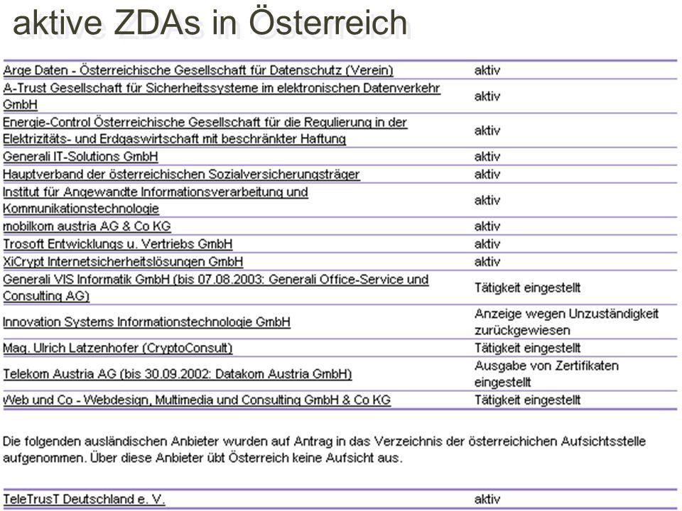 aktive ZDAs in Österreich