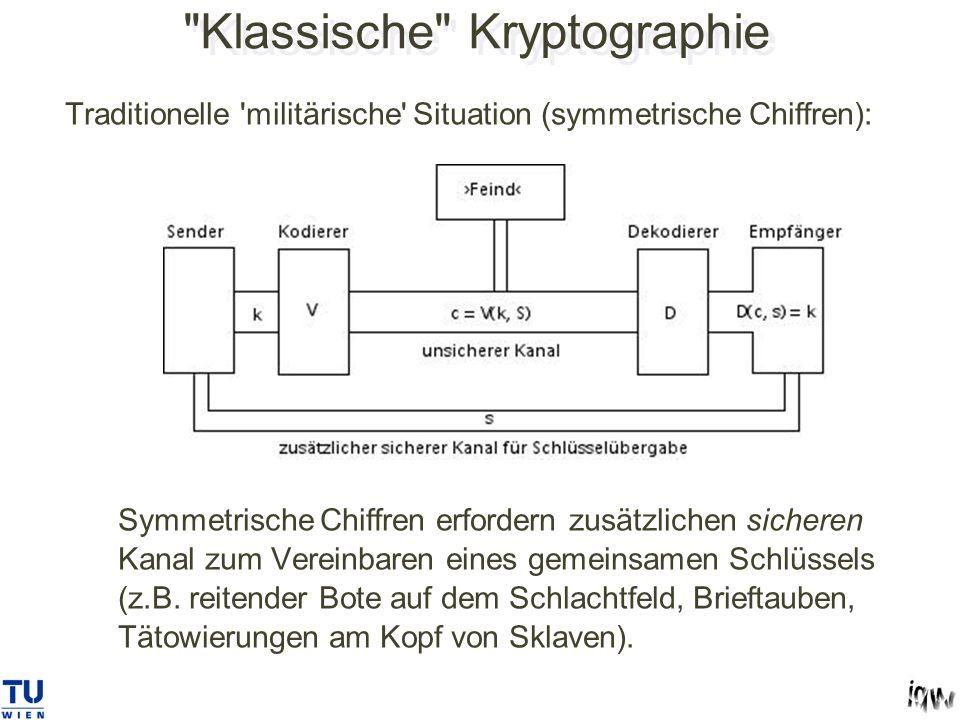 Klassische Kryptographie Traditionelle militärische Situation (symmetrische Chiffren): Symmetrische Chiffren erfordern zusätzlichen sicheren Kanal zum Vereinbaren eines gemeinsamen Schlüssels (z.B.