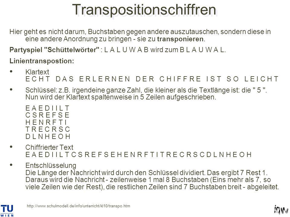 Transpositionschiffren Hier geht es nicht darum, Buchstaben gegen andere auszutauschen, sondern diese in eine andere Anordnung zu bringen - sie zu transponieren.