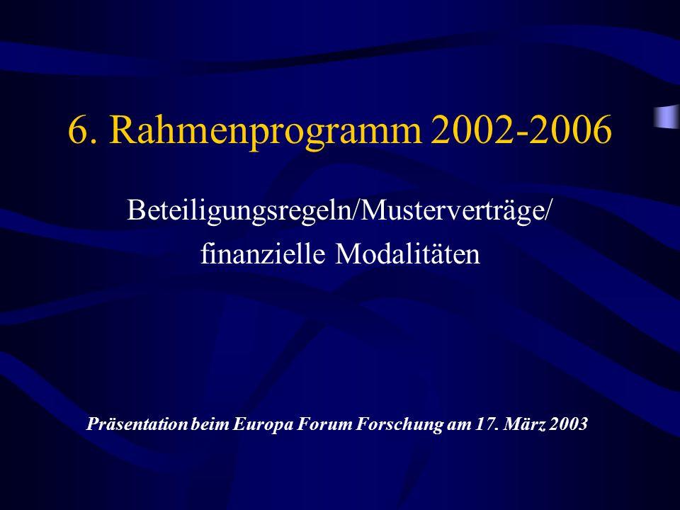 6. Rahmenprogramm 2002-2006 Beteiligungsregeln/Musterverträge/ finanzielle Modalitäten Präsentation beim Europa Forum Forschung am 17. März 2003