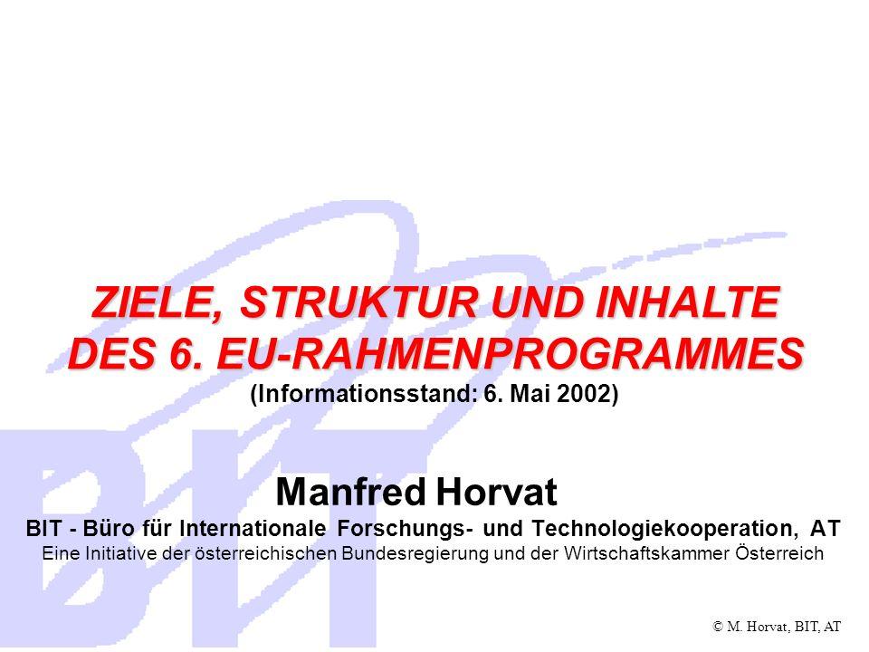 © M.Horvat, BIT, AT Inhalt Das 6. EU-Rahmenprogramm für FTD Warum ein neues RP.