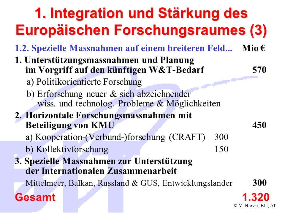 © M.Horvat, BIT, AT 1. Integration und Stärkung des Europäischen Forschungsraumes (4) 1.3.