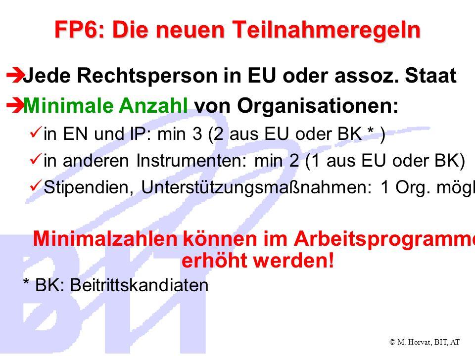 © M. Horvat, BIT, AT FP6: Die neuen Teilnahmeregeln Jede Rechtsperson in EU oder assoz. Staat Minimale Anzahl von Organisationen: in EN und IP: min 3