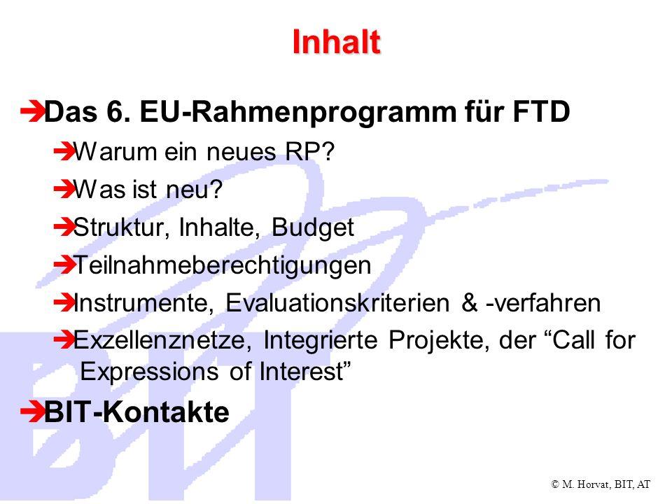 © M. Horvat, BIT, AT Inhalt Das 6. EU-Rahmenprogramm für FTD Warum ein neues RP? Was ist neu? Struktur, Inhalte, Budget Teilnahmeberechtigungen Instru
