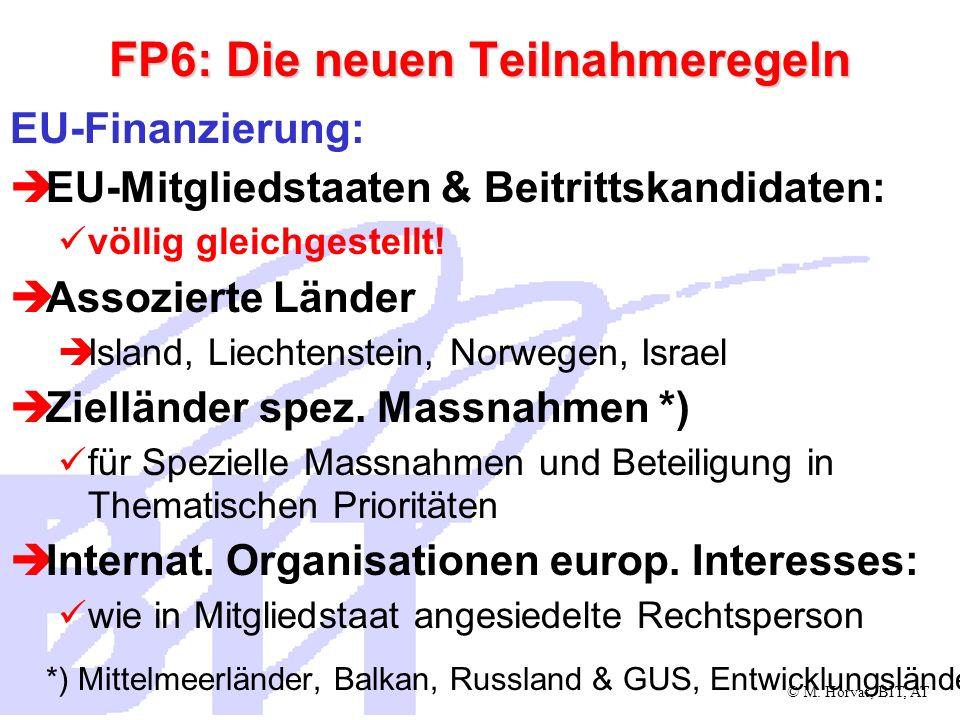 © M. Horvat, BIT, AT FP6: Die neuen Teilnahmeregeln EU-Finanzierung: EU-Mitgliedstaaten & Beitrittskandidaten: völlig gleichgestellt! Assozierte Lände