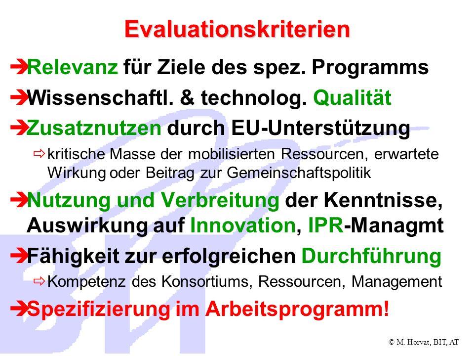 © M. Horvat, BIT, AT Evaluationskriterien Relevanz für Ziele des spez. Programms Wissenschaftl. & technolog. Qualität Zusatznutzen durch EU-Unterstütz