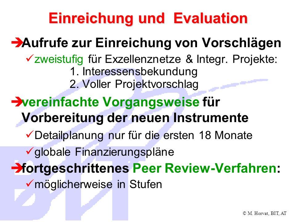 © M. Horvat, BIT, AT Einreichung und Evaluation Aufrufe zur Einreichung von Vorschlägen zweistufig für Exzellenznetze & Integr. Projekte: 1. Interesse