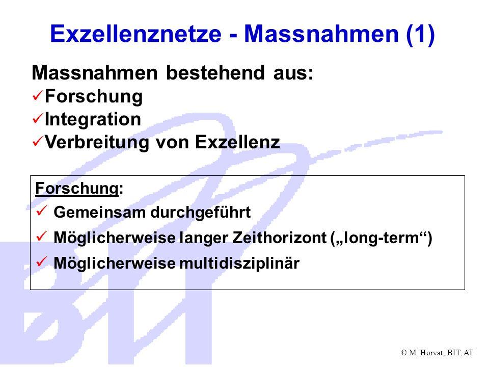 © M. Horvat, BIT, AT Forschung: Gemeinsam durchgeführt Möglicherweise langer Zeithorizont (long-term) Möglicherweise multidisziplinär Exzellenznetze -
