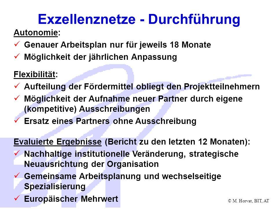 © M. Horvat, BIT, AT Exzellenznetze - Durchführung Autonomie: Genauer Arbeitsplan nur für jeweils 18 Monate Möglichkeit der jährlichen Anpassung Flexi