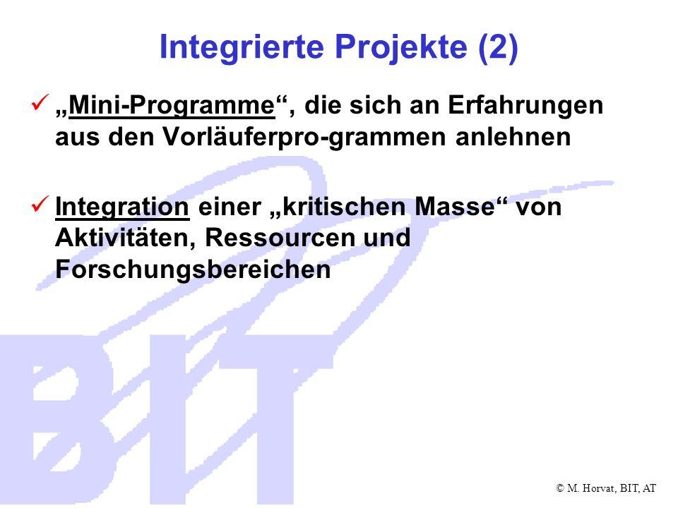 © M. Horvat, BIT, AT Integrierte Projekte (2) Mini-Programme, die sich an Erfahrungen aus den Vorläuferpro-grammen anlehnen Integration einer kritisch