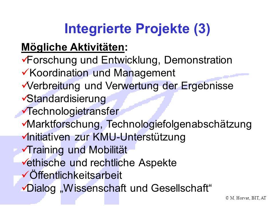 © M.Horvat, BIT, AT Integrierte Projekte (4) Dauer: 3 bis 5 Jahre oder mehr Budget: einige Mio.