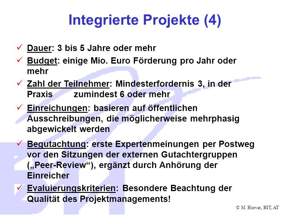 © M. Horvat, BIT, AT Integrierte Projekte (4) Dauer: 3 bis 5 Jahre oder mehr Budget: einige Mio. Euro Förderung pro Jahr oder mehr Zahl der Teilnehmer