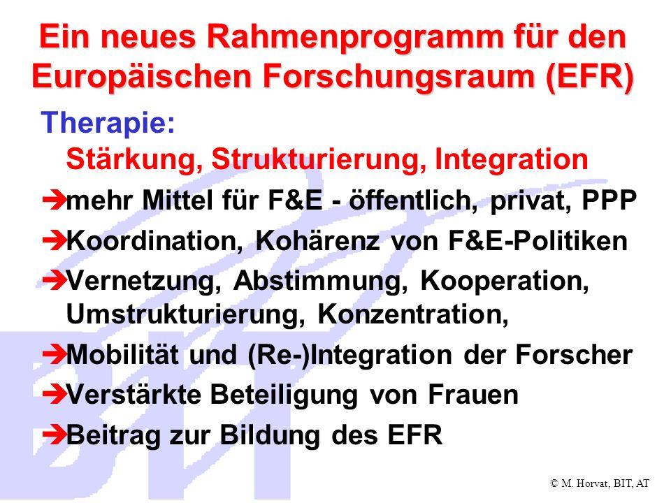 © M. Horvat, BIT, AT Ein neues Rahmenprogramm für den Europäischen Forschungsraum (EFR) Therapie: Stärkung, Strukturierung, Integration mehr Mittel fü