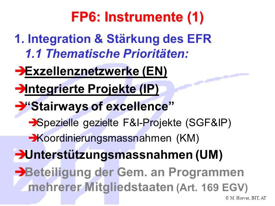 © M.Horvat, BIT, AT FP6: Instrumente (2) 1.