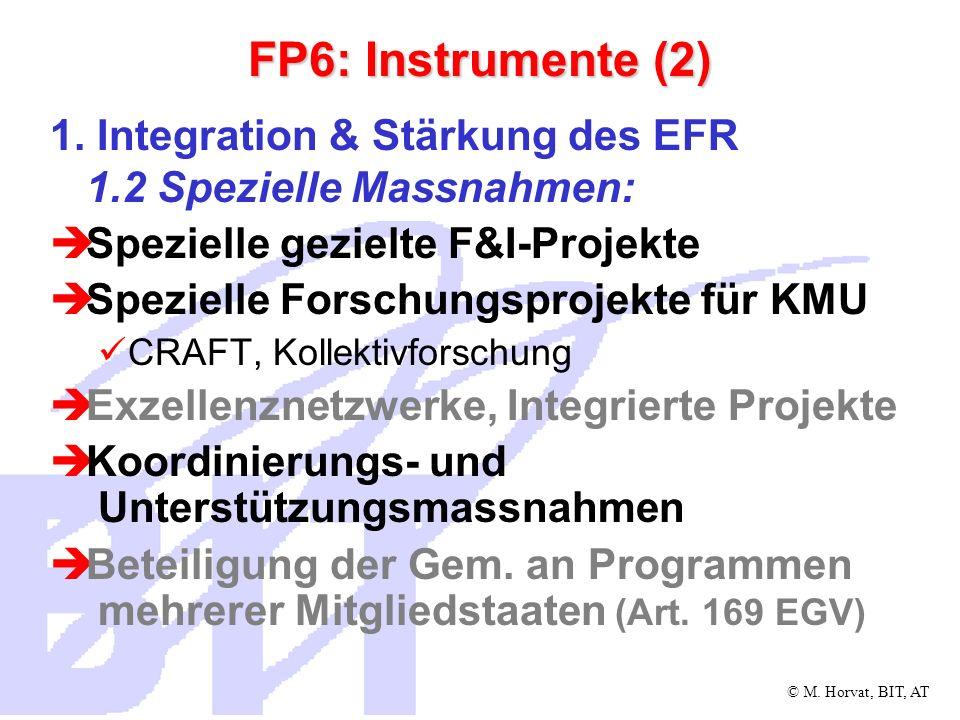 © M.Horvat, BIT, AT FP6: Instrumente (3) 1.