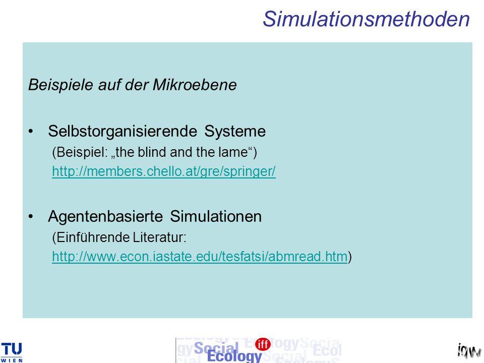 Beispiele auf der Mikroebene Selbstorganisierende Systeme (Beispiel: the blind and the lame) http://members.chello.at/gre/springer/ Agentenbasierte Si